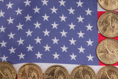 American flag and cent coins, nationalism concept. Close up of american flag and cent coins, nationalism concept royalty free stock photos