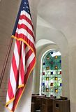 American flag at the chapel entrance at Punchbowl Cemetary in Honolulu, Hawaii stock image