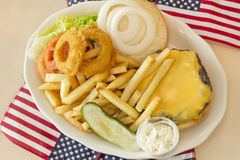 American Flag Cheeseburger Royalty Free Stock Images