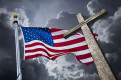 American flag with a christian cross royalty free stock image