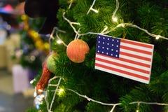 American Flag on Christmas tree