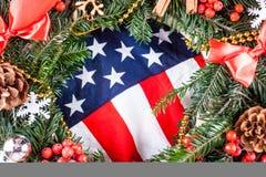 American flag and christmas tree.