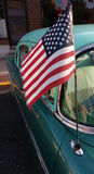 American Flag on a Classic Car Antenna, USA Stock Image