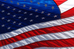 American Flag. A close image of an American Flag waving in the wind Stock Photos