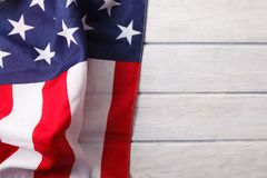 Free American Flag Close Up On Wood Desk Royalty Free Stock Photos - 125819008