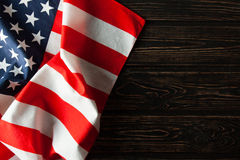 Free American Flag Close Up On Wood Desk Royalty Free Stock Photo - 92499945