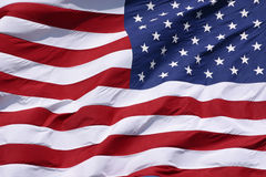American Flag Closeup. Large American flag waving in the wind Stock Images