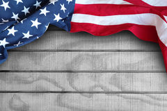American flag. Closeup of American flag on boards Royalty Free Stock Photos