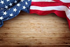 American flag. Closeup of American flag on boards Stock Photography
