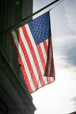 American Flag Closeup Backlit USA Patriotism Hanging Background Royalty Free Stock Image