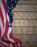 American flag. Closeup of American flag on boards Royalty Free Stock Images