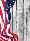 American flag. Closeup of American flag on boards Royalty Free Stock Image
