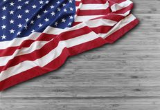 American flag. Closeup of American flag on boards Stock Photo
