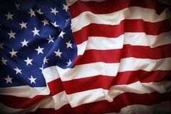 American flag. Closeup of ruffled American flag. Dark edges Royalty Free Stock Image
