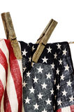 American flag on a clothesline Royalty Free Stock Photo