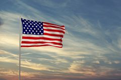 American flag in the cloudy sky,3d rendering. American flag in the cloudy sky,3d render Stock Image