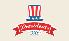 American flag color hat for Presidents Day celebration. Presidents Day celebration sticker or label with United State American flag color hat and ribbon Vector Illustration