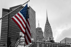 American flag colored New York City USA Skyline Black and White Royalty Free Stock Photos