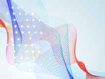 American Flag colors waves for 4th of July. Abstract waves in American Flag colors, Creative background for 4th of July, Independence Day celebration stock illustration