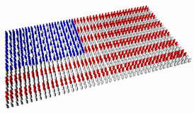 American flag concept. An American flag made up of lots of little stylised people stock illustration