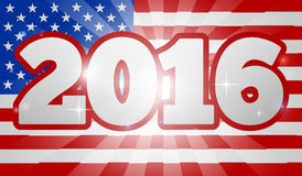 American Flag Concept 2016 Election. 2016 American Flag  Election Concept with the flag in the background and 2016 year number Royalty Free Stock Photography