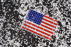 American flag with confetti Stock Photography