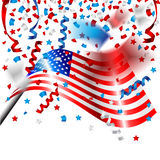 American Flag with confetti for Independence Day of USA Royalty Free Stock Photography
