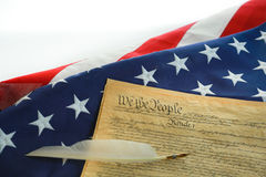 The American Flag and the Constitution Stock Photo