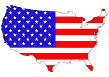 American flag on country map  Royalty Free Stock Photos