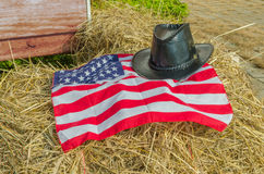 American flag and Cowboy hats Stock Images