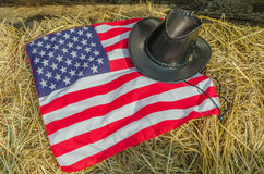 American flag and Cowboy hats Royalty Free Stock Images