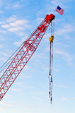 American Flag on a Crane Stock Images
