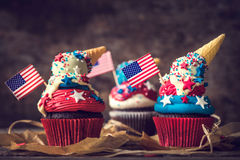 American flag cup cake Stock Images