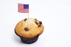 American flag in cupcake on white background Royalty Free Stock Photo