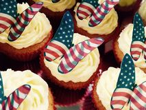 American flag cupcakes. Cup cakes decorated with American Royalty Free Stock Photo