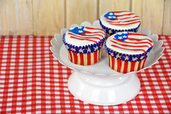 American flag cupcakes Royalty Free Stock Photography