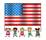 American Flag Day. Cartoon children of different races holding an American flag Royalty Free Stock Photo