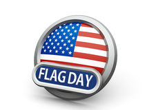 American Flag Day icon. Emblem, icon or button with american flag represents American Flag Day,  on white background, three-dimensional rendering, 3D Stock Photo