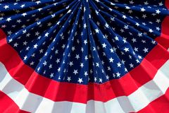 American flag decoration. A patriotic banner decoration in the pattern of the American Flag Stock Image