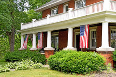 American flag decoration front porch Stock Image