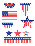 American Flag Decorations. A set of american flag decorations in different shapes and sizes vector illustration