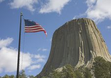 American flag at Devils Tower Royalty Free Stock Photos