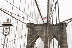 American flag in display on the Brooklyn Bridge stock photo