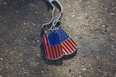 American flag dog tags Royalty Free Stock Photos