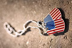 American flag dog tags. Background Royalty Free Stock Photo