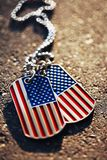 American flag dog tags background. USA American flag dog tags background Royalty Free Stock Image