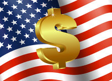 American Flag with Dollar Sign Stock Photography