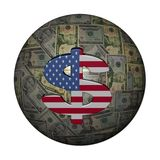 American flag dollar symbol on dollars Stock Image