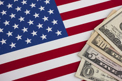 American flag and dollars Royalty Free Stock Photos