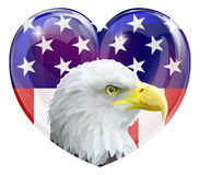 American flag eagle love heart. Eagle America love heart concept with and American bald eagle in front of a stars and stripes heart Stock Illustration